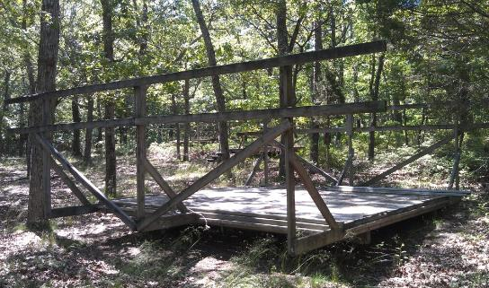 One of the many old tent platforms